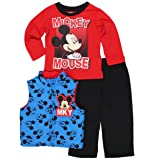 Mickey Mouse Little Boys 3 piece Vest Tee and Sweatpants Set (4T, MKY Blue/Red) (Color: Mky Blue/Red, Tamaño: 4T)