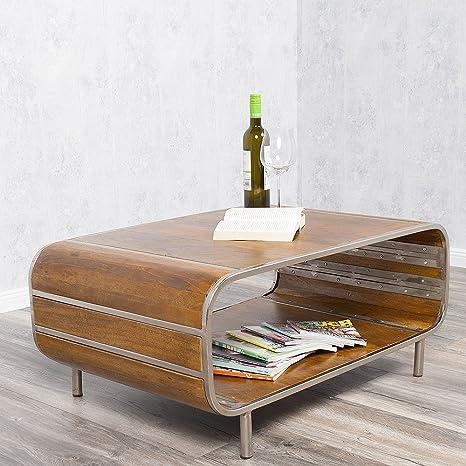 Couchtisch RAJENDRA Stone-S massiv Mangoholz Retro-Stil Sofatisch Tisch TV-Board