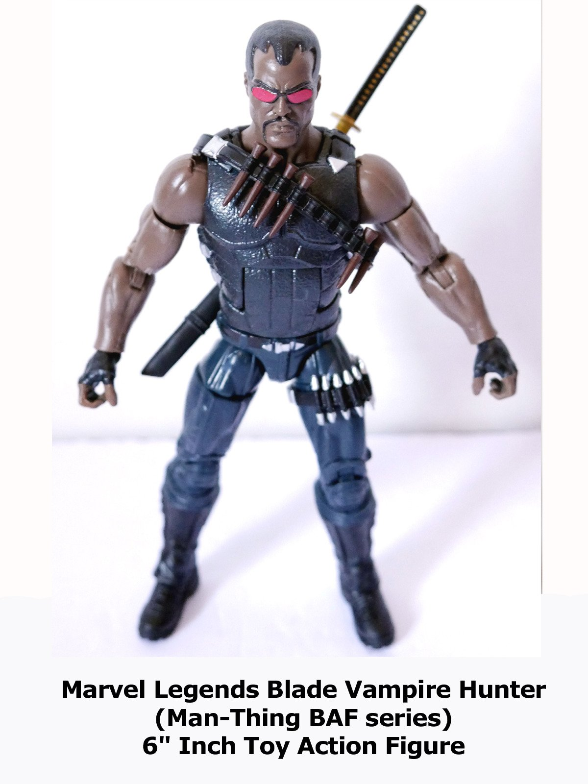 "Review: Marvel Legends Blade Vampire Hunter (Man-Thing BAF series) 6"" Inch Toy Action Figure"