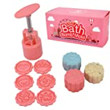 Bath Bomb Mold Making Kit- DIY Bath Fizzies Supplies with 6 Stamps - Make a Bomb in 5 Seconds (Color: Pink)