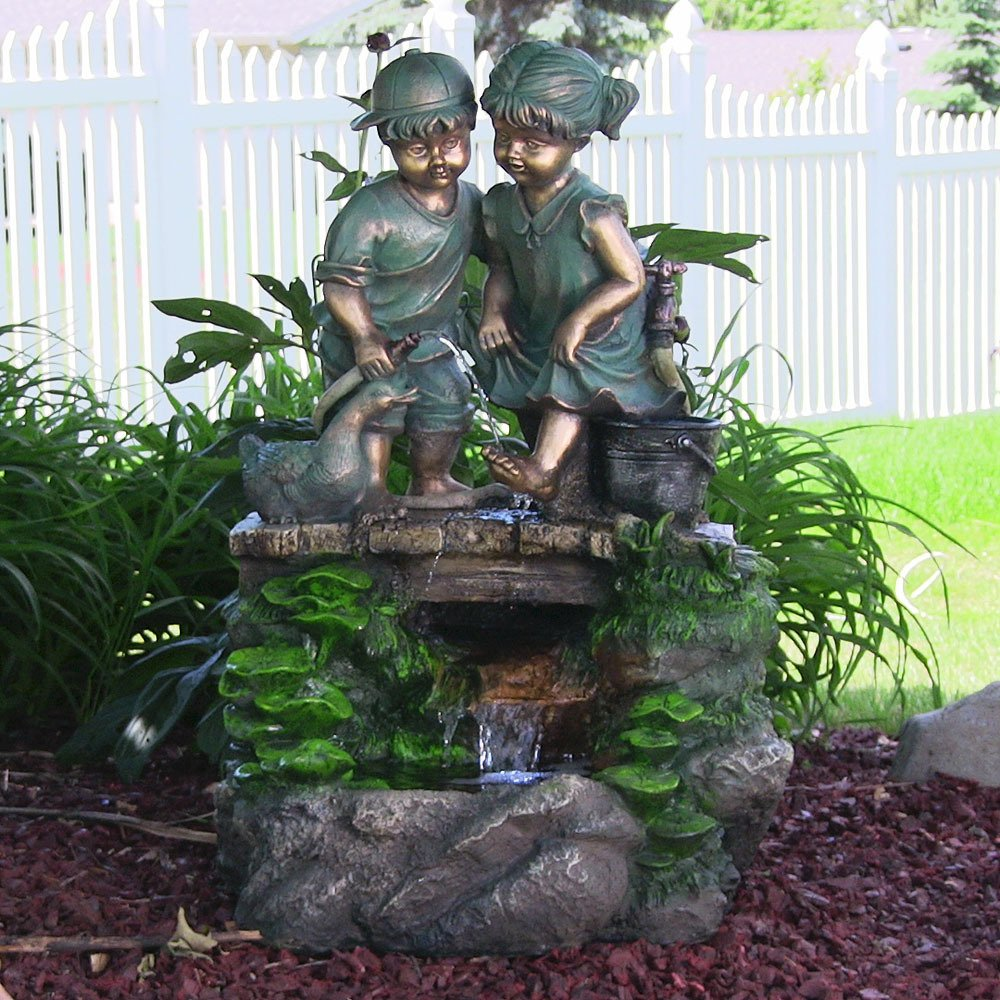 Children Discovering Nature Outdoor Water Fountain With LED Light By  Sunnydaze Decor, 32 Inch Tall