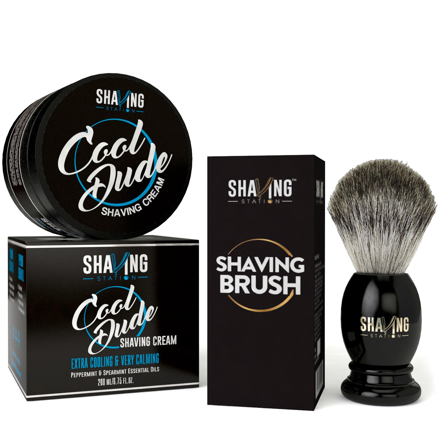 Shaving Station Cool Dude Shaving Cream – 200ml with Shaving Brush low price