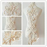 3D beaded flower sequence lace applique motif sewing bridal wedding 3in1 20cmx72cm (Champagne) (Color: Champagne)