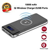 Wireless Charger Power Bank, YGIVO 10000Mah 3 in 1 Qi Power Bank and Qi Wireless Portable Charger for iPhone x/8/8 Plus,Samsung Galaxy S6/7/8 and More (Gray) (Color: Gray, Tamaño: 3.94 x 0.9 x 7.08 in)