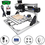 Mophorn CNC Machine 2418 Grbl Control CNC Router Kit 3 Axis PCB Laser Engraver 240X180X40Mm with 2500mW Laser Head Module and Lamp (Tamaño: 240x180mm)