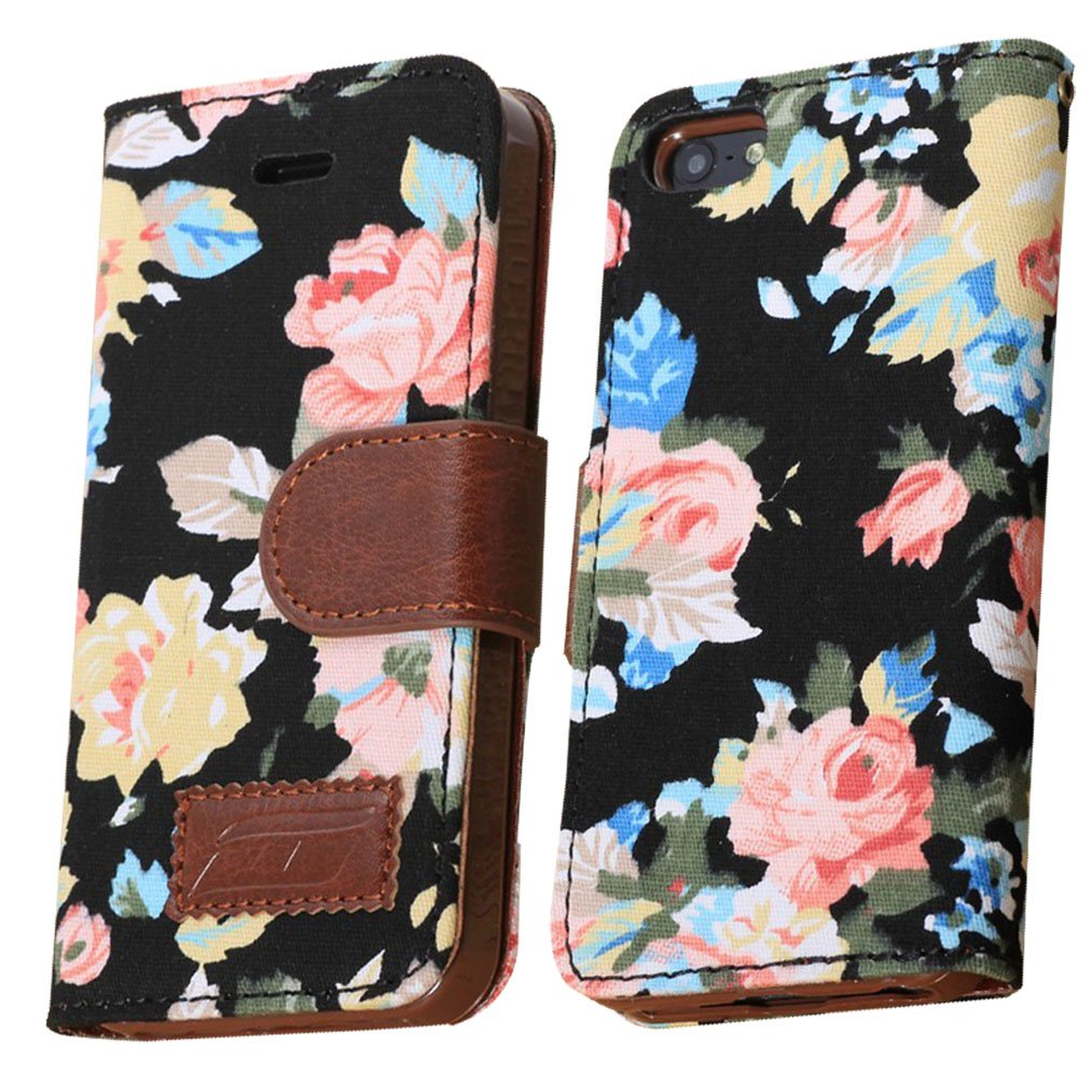 Obring (TM) Elegant Flower and Deluxe Book Style Folio PU Leather Wallet with Magnet Design Flip Case Cover, Credit Card Holder for iPhone 5 / 5S (iPhone5-Black)
