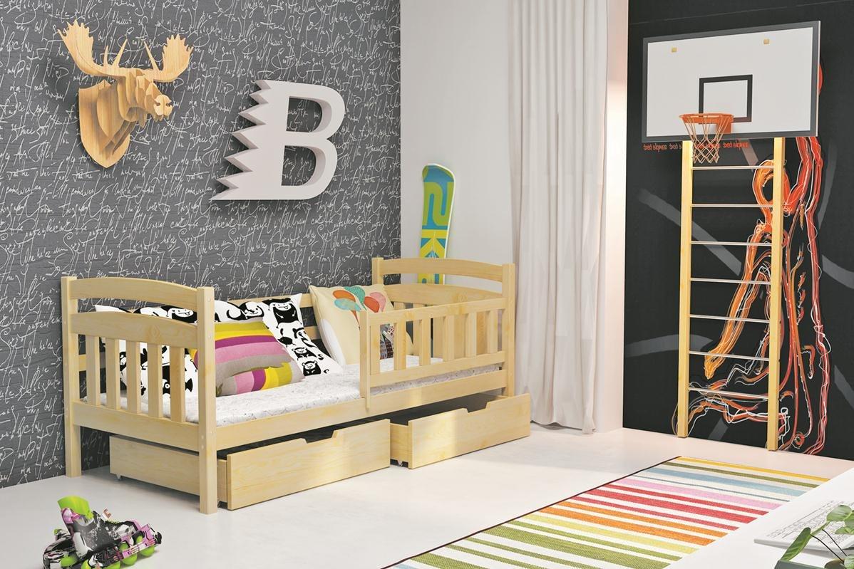 Kinderbett KASPAR UNO 185x80 mit zwei Schubladen, inkl. Lattenrost und Matratze, Massivholz (erle)