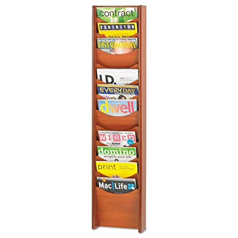 Safco 12Wooden Magazine Rack, 28.6cm Width x 48.75Inches Height, Cherry (4331CY) cherry