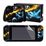 eXtremeRate Full Set Faceplate Skin Decals Stickers and 2 Pcs Screen Protector for Nintendo Switch/NS Console & Joy-con Controller & Dock Protection Kit -Psychedelic Skull (Color: Psychedelic Skull)