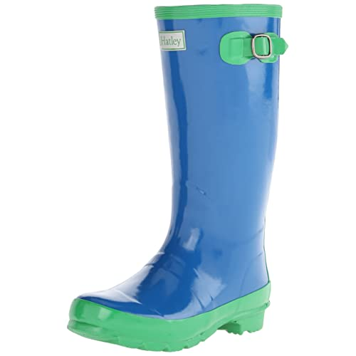Hatley Big Girls Splash Royal Green Boots