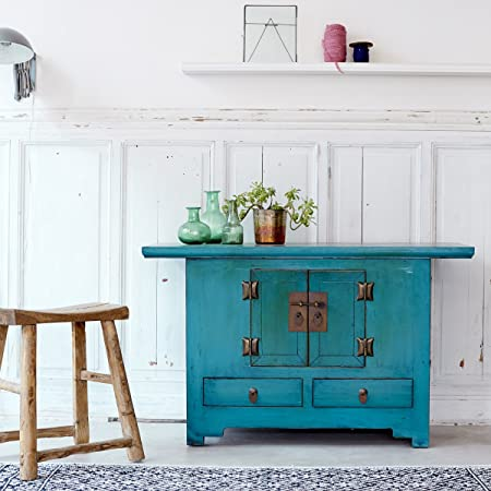 Turquoise Blue Painted Solid Pine Sideboard Far Eastern Asian Brass Handles