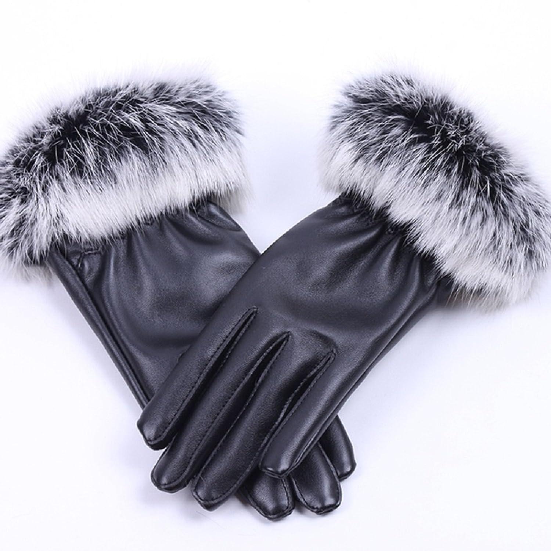 [ROYAL CRAFT] やわらかく暖かい レディース手袋 スマートフォン 液晶タッチパネル対応 レザー 革 兎の毛 女性用 スマホ手袋
