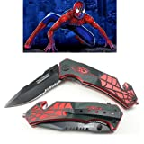 Spider Man 8 Inch Spring Assisted Pocket Knife With Glass Breaker + Belt Cutter