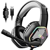 EKSA Gaming Headset with 7.1 Surround Sound Stereo, PS4 USB Headphones with Noise Canceling Mic & RGB Light, Compatible with PC, PS4 Console, Laptop (Gray) (Color: Gray)
