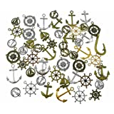 HuanX35 100 Grams Assorted(Color&Style) Nautical Anchor Rudder Helm Compass Punk Steampunk Charm Pendant Connector for Sailor Navy DIY Ornaments Making Accessories By Alimitopia (Color: style 5#)