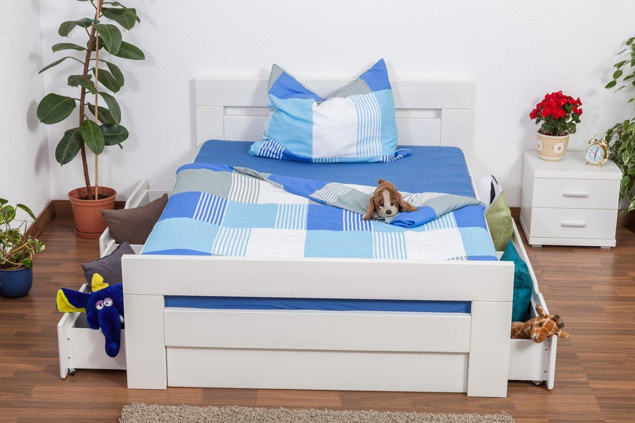 """Jugendbett """"Easy Sleep"""" K6 inkl. 4 Schubladen und 2 Abdeckblenden 140 x 200 cm Buche Vollholz massiv weiß lackiert jetzt kaufen"""