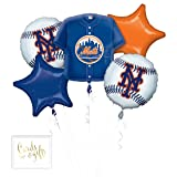 Andaz Press Balloon Bouquet Party Kit with Gold Cards & Gifts Sign, New York Mets Baseball Themed Foil Mylar Balloon Decorations, 1-Set (Color: Sports New York Mets)