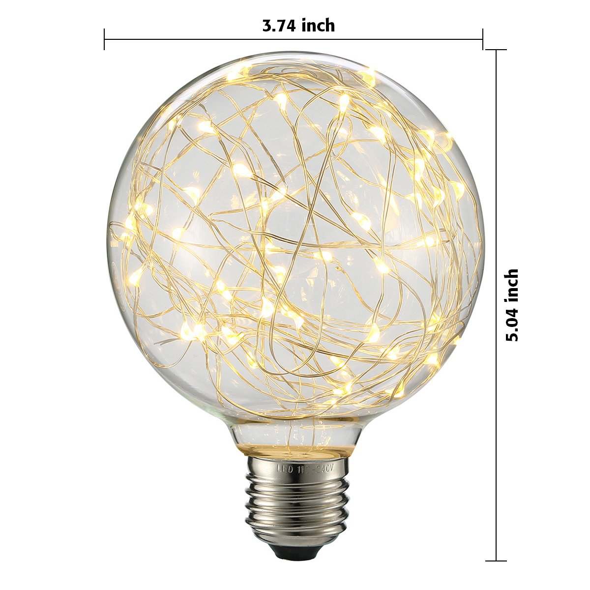 KINGSO G95 Vintage Edison Bulb,E27 Base 3W 300LM Antique Filament Globe Spiral Design LED Lights for Christmas Home Party Cafes Bars Decoration Warm White 5