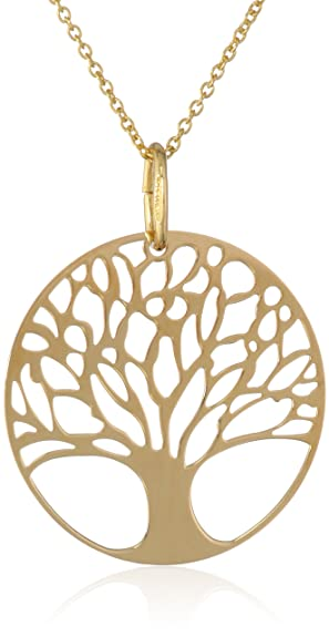 Tree of Life Disk Chain Pendant Necklace, 18