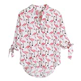 LUKYCILD Women's Flamingo Print Shirt Top Fashion Elegant V Neck Chiffon Blouse Size L (Pink)