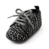 Antheron Baby Boys Girls Anti-Slip Sole Sneakers Breathable Toddler First Walkers Newborn Infant Crib Shoes(Black,12-18 Month) (Color: Black, Tamaño: L: 5.12 inch(12-18 months))