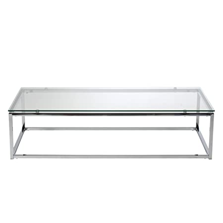 Euro Style Sandor Coffee Table, Clear Glass/Chrome