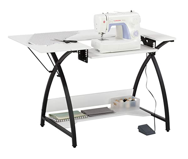 Sew Ready Studio Designs Comet Sewing Table, 13332 (Color: White, Tamaño: 45.5 W x 23.5 D x 30 H)