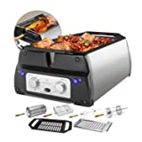 ChefWave Smokeless Indoor Electric Grill & Rotisserie - 5 in 1 Non-Stick Tabletop Kitchen BBQ Grill with Infrared Technology - Includes Kebab & Skewer Set, Fries Basket & Fish Cage, Drip Tray (Color: Stainless Steel)