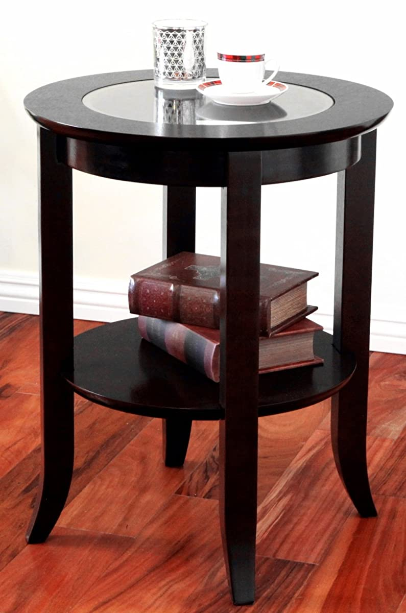 frenchi furniture wood genoa end table round side accent table inset glass espresso. Black Bedroom Furniture Sets. Home Design Ideas