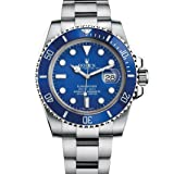 Rolex Men's 116619 Submariner White Gold Watch W/ Blue Dial (Color: Blue)