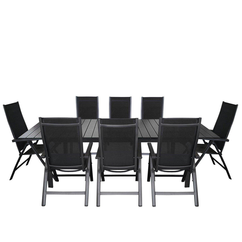 Hochwertige 9-teilige Gartengarnitur, Alu / Polywood Gartentisch ausziehbar 220/280x95cm + 8x Positionsstuhl mit 4x4 Textilenbespannung und Polywood Armlehnen - Schwarz / Terrassenmöbel Gartenmöbel Sitzgruppe Sitzgarnitur