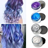MOFAJANG Temporary Hair Color Wax,4 Colors - White, Sliver, Blue, Purple, Fun and Effective Modeling Fashion DIY Hair (Color: Blue+Purple+White+Grey)