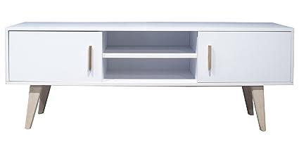 Meuble TV avec 2 portes coloris Blanc - Dim : L150 x H 55 x P 35 cm (livré monté) -PEGANE-