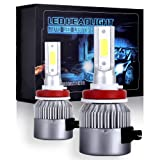 ECCPP H11/H8/H9 LED Headlight Bulb Hi/Lo Beam White Fog Lights Conversion Kit - 80W 6000K 10400Lm - 3 Year Warranty(Pack of 2) (Color: H11/H8/H9)