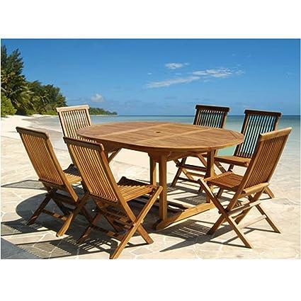 Set da giardino in teak oliato 6/8 persone - Tavolo rotondo/ovale larghezza 120cm lungh 120/170cm + 6 sedie pieghevoli