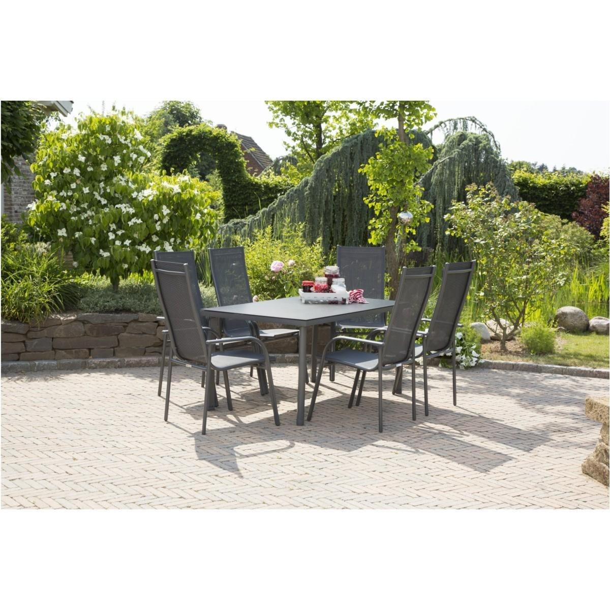 Aluminium Gartenmöbel Set Faro anthrazit 7tlg. Textil Hochlehner Spaystone Tisch günstig online kaufen