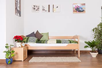 "Holzbett ""Easy Sleep"" K1/n/s, Buche Vollholz massiv Natur - Maße: 90 x 200 cm"