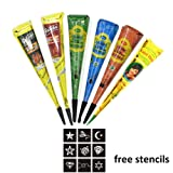 Henna Tattoo Cones 6PCS, Mostata for Body Art Temporary Painting Henna Cones Natural with Stencil Set Kit (Black, Red, Green, Blue, Orange, Brown) (Color: Black, Brown, Red, Blue, Orange, Green)