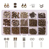PandaHall Elite About 870Pcs Jewelry Finding Kits with Fold Over Ends Knot Covers Ball Chain Extensions End Pieces Earring Hooks Head Pins Lots in In A Box Antique Bronze (Color: Antique Bronze-870 Pcs, Tamaño: 15 Styles)