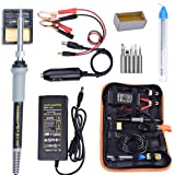 Soldering Iron, Soldering Iron Kit, 35W Adjustable Temperature Welding Tool, 5pcs Solder Soldering Iron Tip, with Car Battery Charger, AC/DC Adapter 110-240V/12V 3A, PU Carry Bag (Color: CC-912)