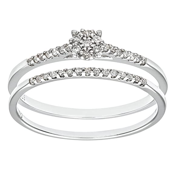Naava 9ct White Gold 0.16ct Diamond Bridal Set Ring