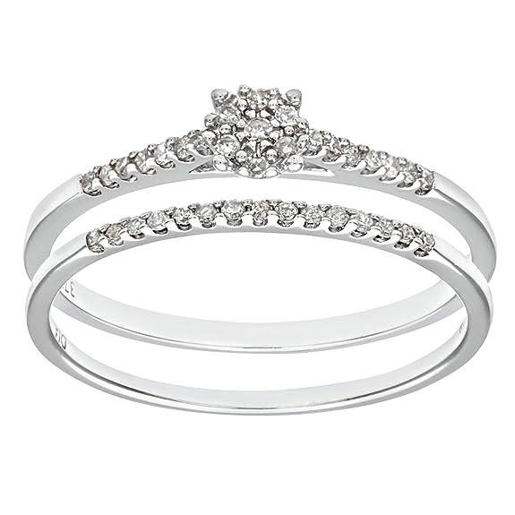 Naava 9ct White Gold 0.16ct Diamond Bridal Set Ring