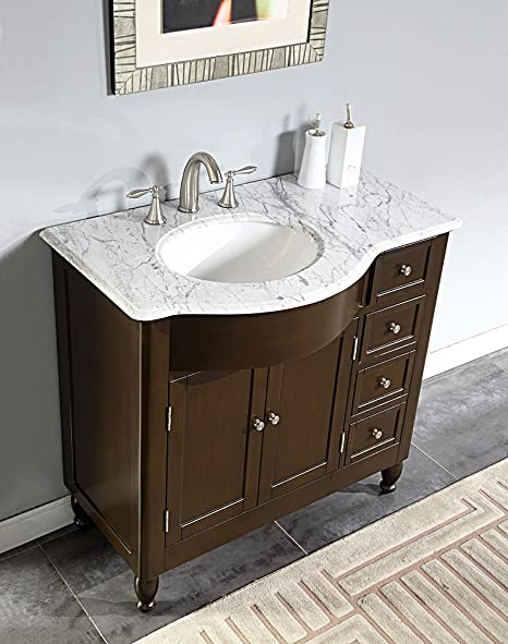 "Silkroad Exclusive HYP-0902-WM-UWC-38-L 38"" Single Left Sink Cabinet with 4 Drawers 2 Doors Carrara White Marble Top and Undermount White Ceramic Sink (3-Hole) in Espresso"