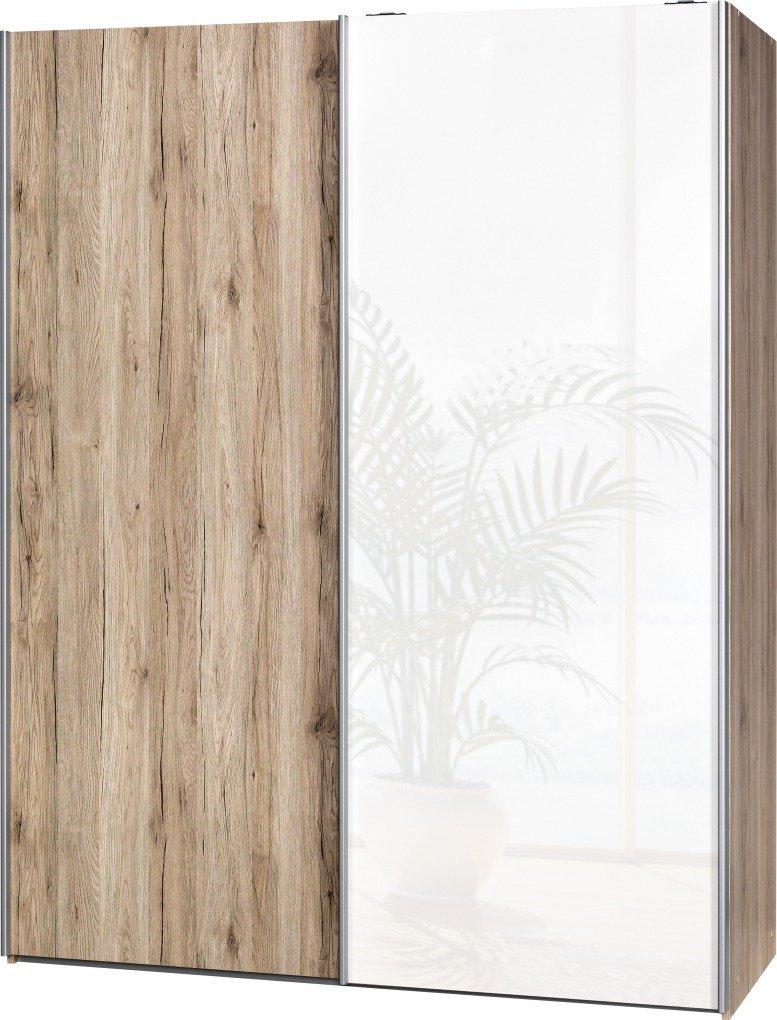 Schwebetürenschrank Soft Plus Smart Typ 43″, 150 x 194 x 61cm, Sanremo hell/Sanremo hell/Weiß hochglanz