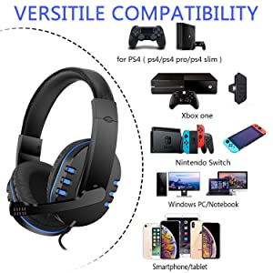 3.5mm Gaming Headset for Nintendo Switch Games, PS4, PC, Xbox One Controller, Noise Cancelling Over Ear Headphones with Mic, Bass Surround, Soft Memor