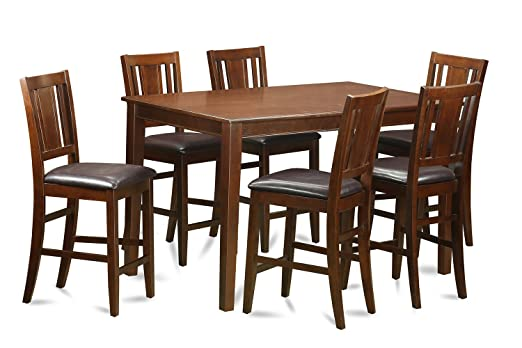 East West Furniture DUBU7H-MAH-LC 7-Piece Gathering Table Set, Mahogany Finish