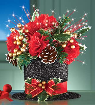 Amazon.com - Red Christmas Flowers Bow Gold Berries Pine Cone Top ...