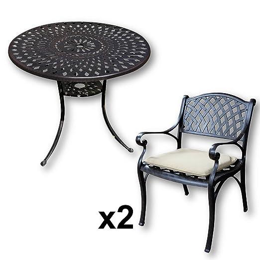 Lazy Susan - Tavolo rotondo 90 cm MIA e 2 sedie da giardino - Set da giardino in alluminio pressofuso, colore Bronzo Antico (sedie KATE, cuscini beige)