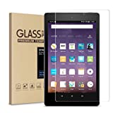 All-New Fire 7 Screen Protector,Tempered Glass Screen Protector Film for All-New 7 Tablet (7th 2017 Release)/7 Inch Kids Edition [9H Hardness] [Bubble Free] [Crystal Clear] (Color: clear, Tamaño: 7 Inches)