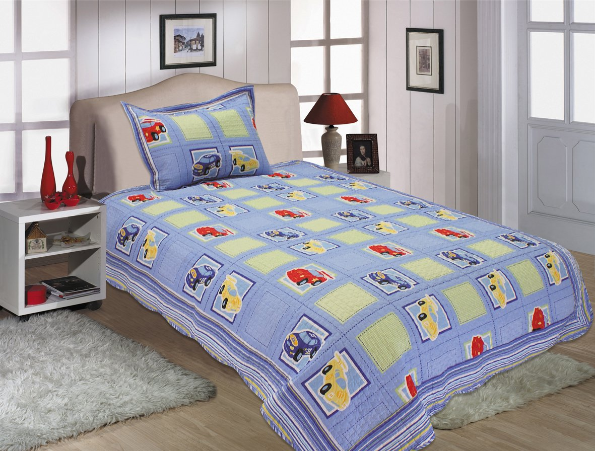 All for You 2-piece Reversible Bedspread/ Coverlet / Quilt Set-twin Size-boys' Little Car-68 2016 fashin reversible skullies